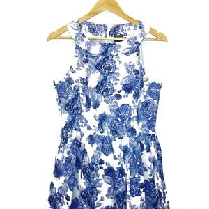 Gabby Skye Blue and White Floral Print Dress